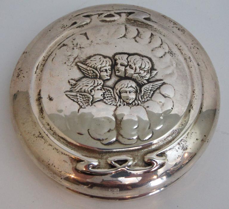 Edwardian Sterling Lidded Glass Vanity Jar of Cherub Design 2