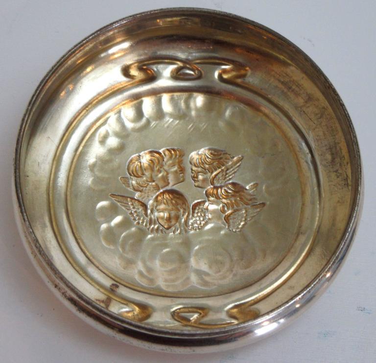 Edwardian Sterling Lidded Glass Vanity Jar of Cherub Design 4