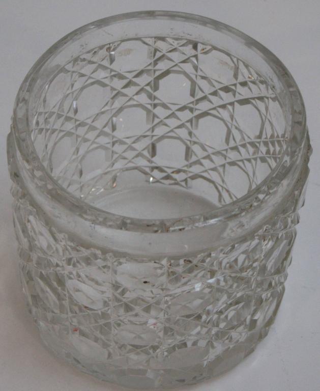 Edwardian Sterling Lidded Glass Vanity Jar of Cherub Design 5