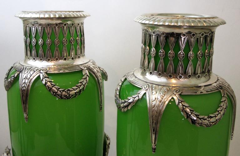 Early 20th Century Pair of French Opaline Glass and Silver Mounted Vases For Sale