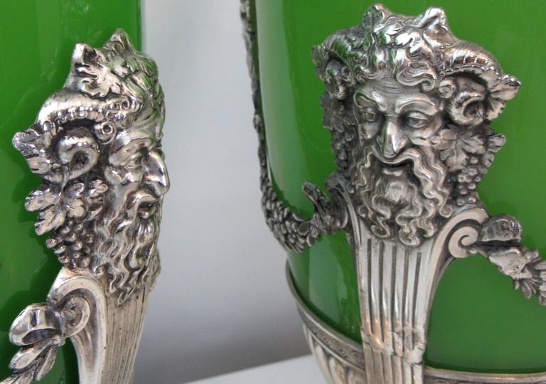 Pair of French Opaline Glass and Silver Mounted Vases For Sale 1
