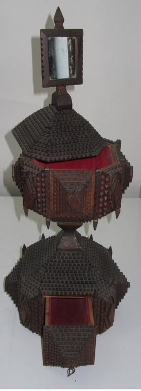 Folk Art Unique Hour Glass Form Tramp Art Dressing Table Box For Sale