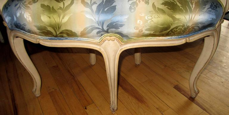 Painted Pair of Louis XV Style Corner Chairs For Sale