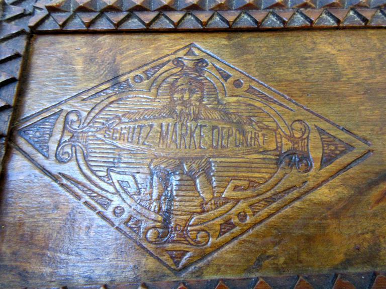 Folk Art Tramp Art Box with Historical Advertising Art For Sale