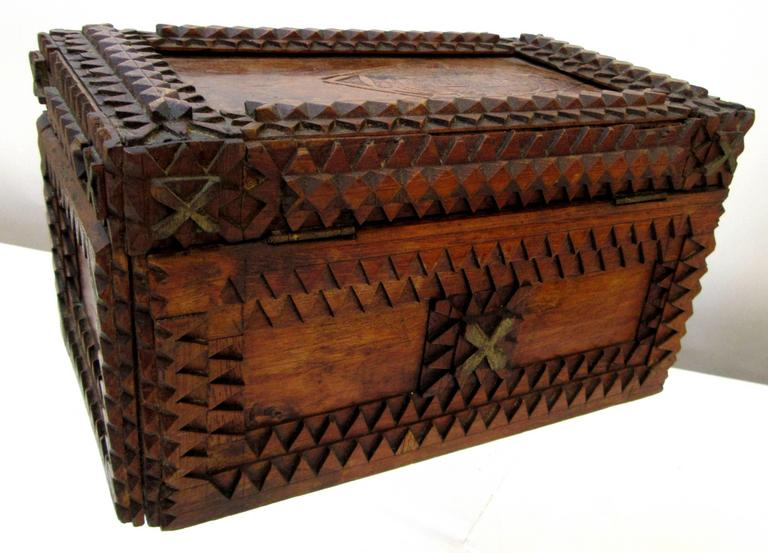 Carved Tramp Art Box with Historical Advertising Art For Sale