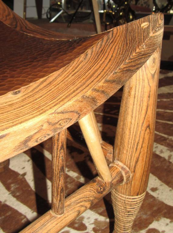 Rustic Pair of Artisan Crafted Wood and Hammered Copper Stools For Sale