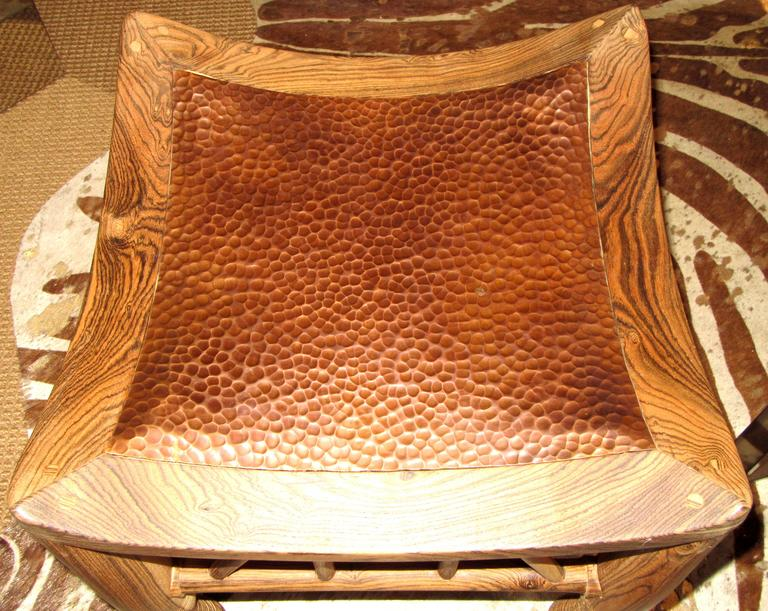 Pair of Artisan Crafted Wood and Hammered Copper Stools 4