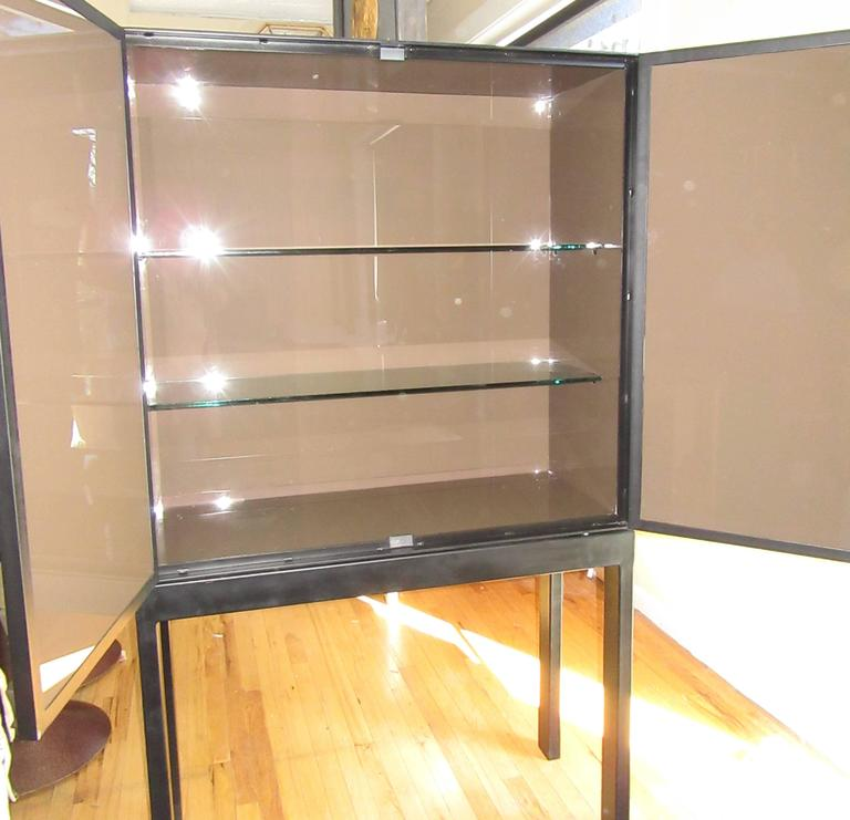 Modern Artisan Crafted Iron Framed & Ceramic Three Dimensional Design Cabinet on Stand For Sale