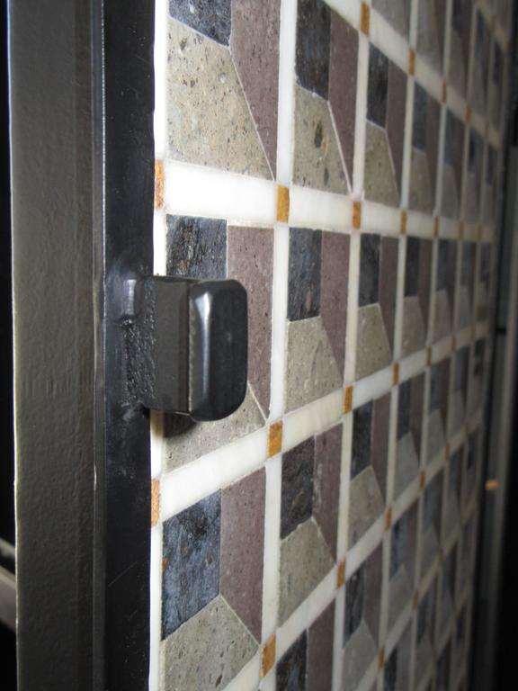 Mexican Artisan Crafted Iron and Stone Tile Three Dimensional Illusion Cabinet on Stand For Sale