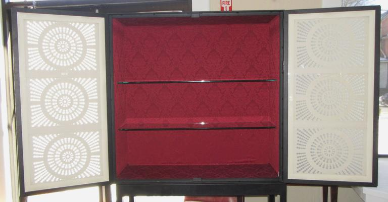 "Mexican Limited Edition Artisan Crafted ""Origami"" Glass and Iron Bar Cabinet For Sale"