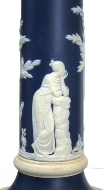 Neoclassical Pair of Dark Blue Wedgwood Jasperware Candlesticks For Sale