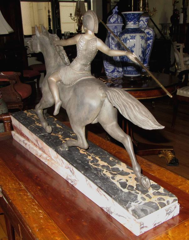 Art Deco Warrior Goddess Sculpture Attributed to Armand Lemo 4