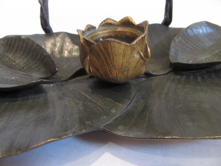 Cast Rare Charles Cumberworth Signed Bronze Inkwell For Sale
