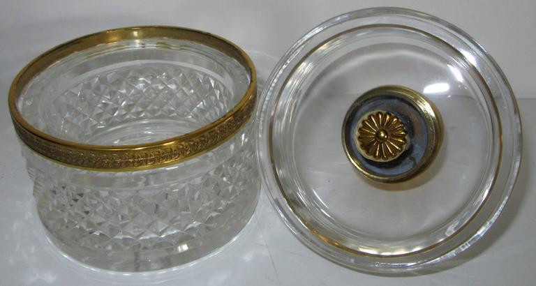 Vintage crystal Et Bronze Paris French crystal and ormolu vanity jar.