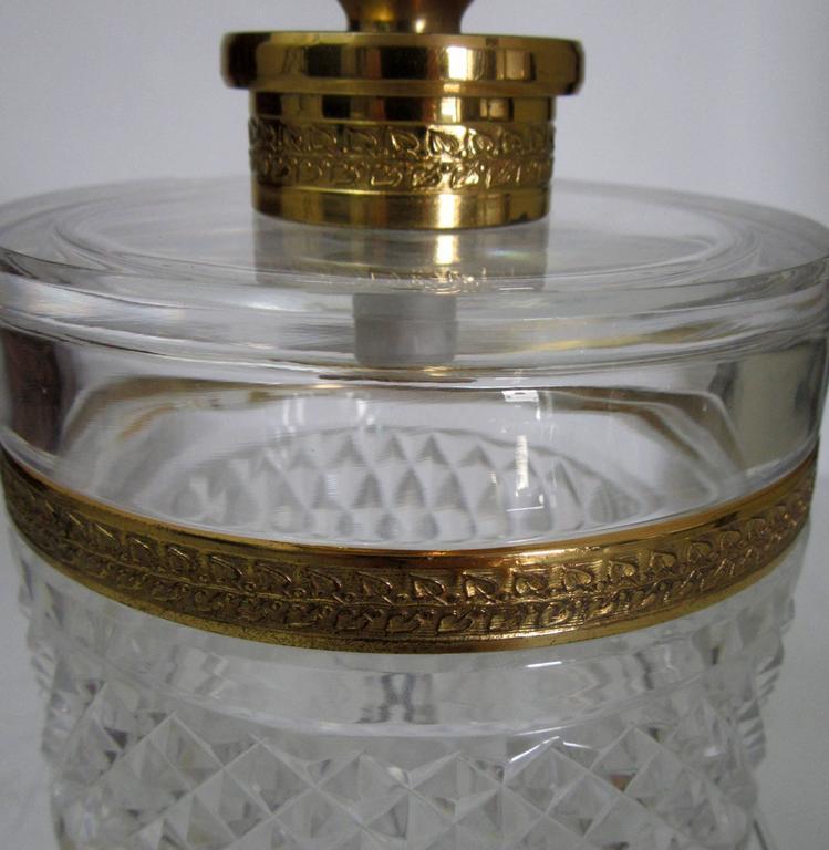 vintage cristal et bronze of paris cut crystal lidded jar. Black Bedroom Furniture Sets. Home Design Ideas