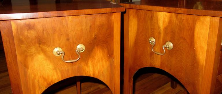 English Pair of 19th Century Flame Mahogany End/Bedside Tables For Sale