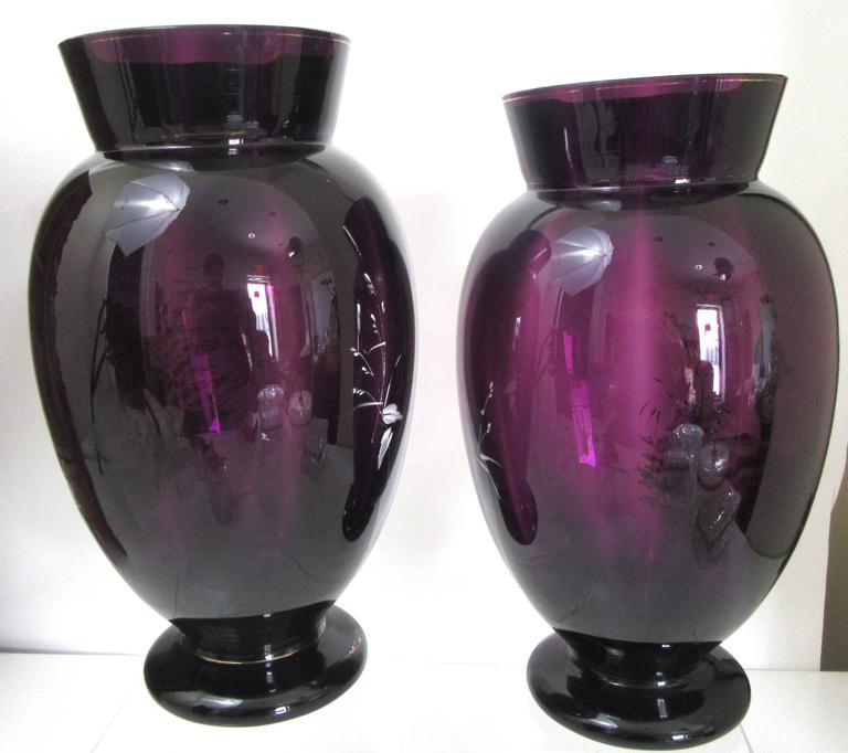 Czech Pair of Large Mary Gregory Style Enameled Amethyst Glass Vases For Sale