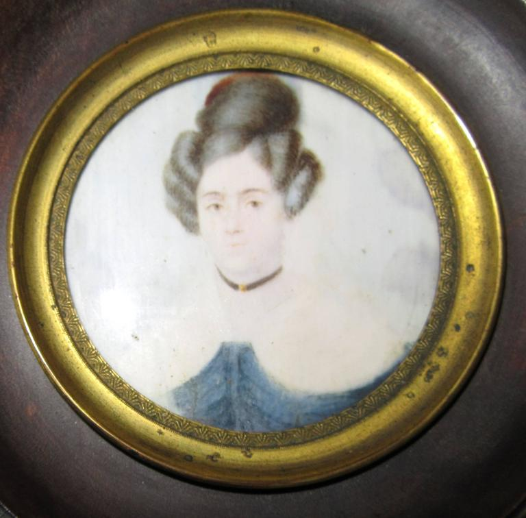 Group of Three Regency Period Miniature Portraits of Ladies In Excellent Condition For Sale In Mt Kisco, NY