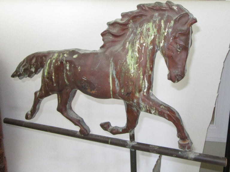 A full bodied copper weathervane with moving directional. No base is included.