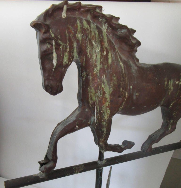 Folk Art American Copper Trotting Horse Weathervane with Directionals For Sale