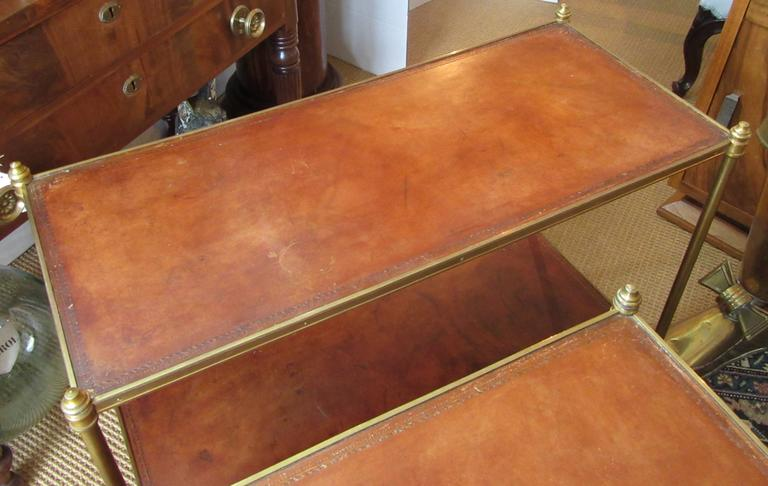French Pair of Maison Jansen Style Brass and Leather End Tables For Sale