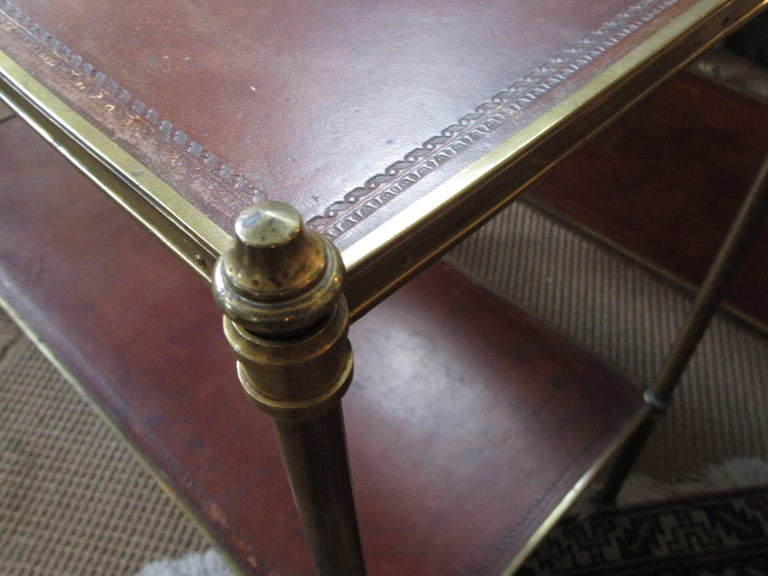 Pair of Maison Jansen Style Brass and Leather End Tables In Good Condition For Sale In Mt Kisco, NY