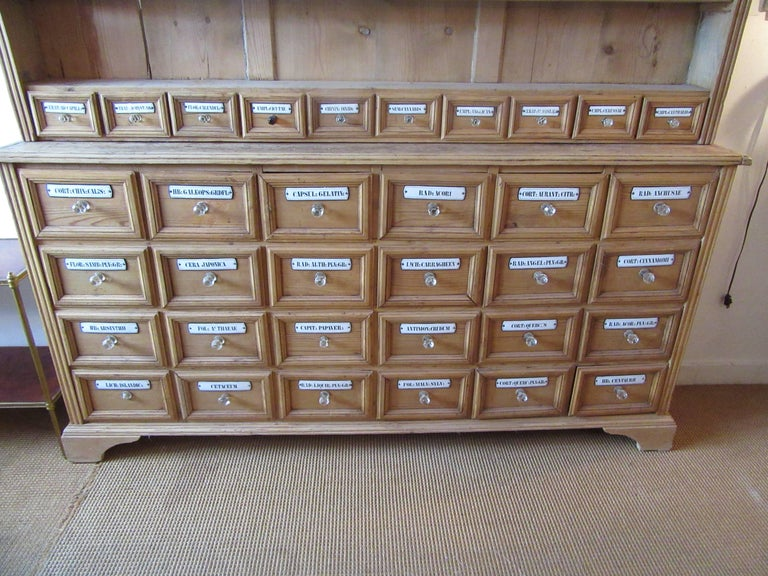 Country Pine Apothecary Cupboard with Enamel Labelled Drawers For Sale