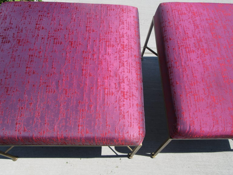 Modern Pair of Paul McCobb Brass X-Base Stools For Sale