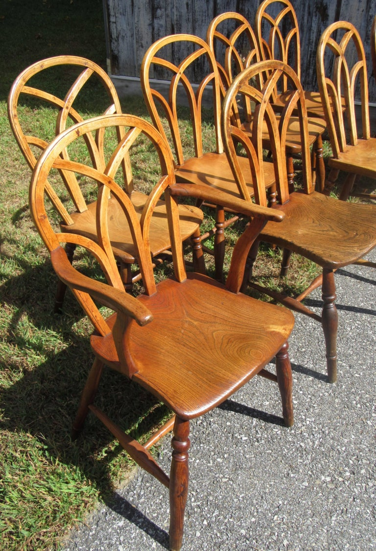 Set of Eight George IV Ash and Elm Gothic Windsor Chairs 2