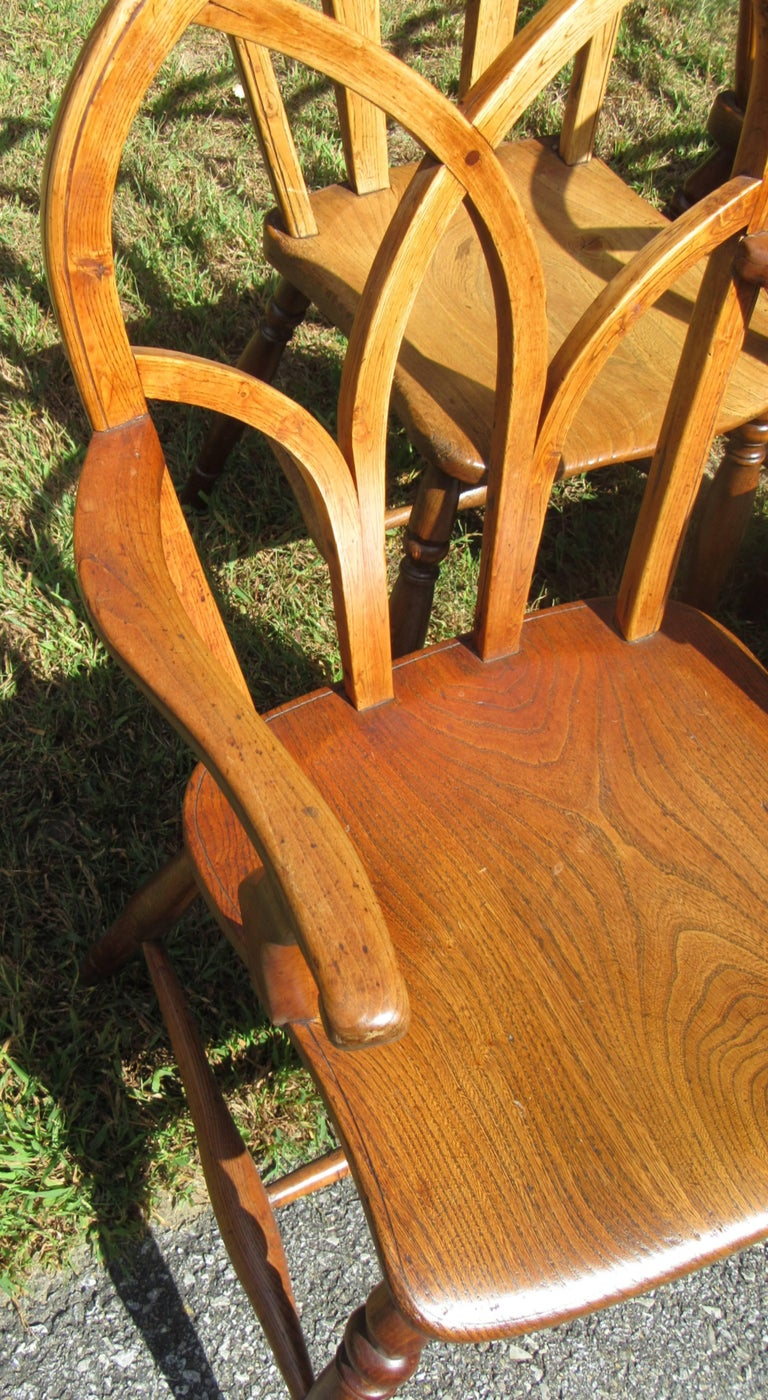 Set of Eight George IV Ash and Elm Gothic Windsor Chairs 3