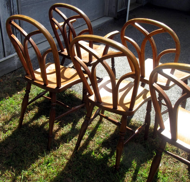Set of Eight George IV Ash and Elm Gothic Windsor Chairs 4