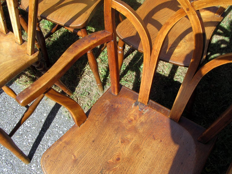 Set of Eight George IV Ash and Elm Gothic Windsor Chairs 5