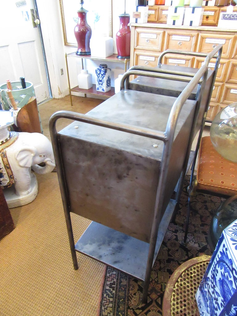 Pair of Vintage French Industrial Steel Nightstands or Side Tables 2