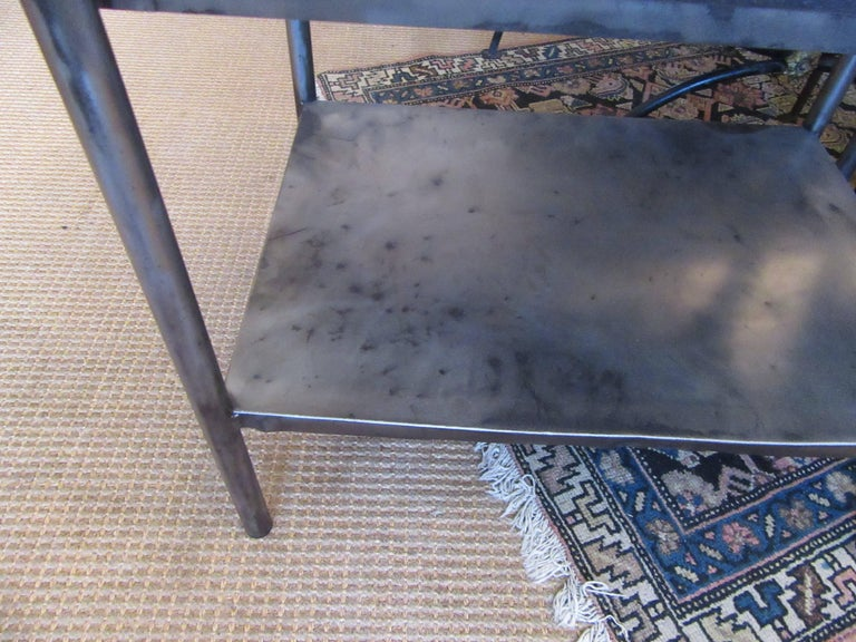 Pair of Vintage French Industrial Steel Nightstands or Side Tables 4