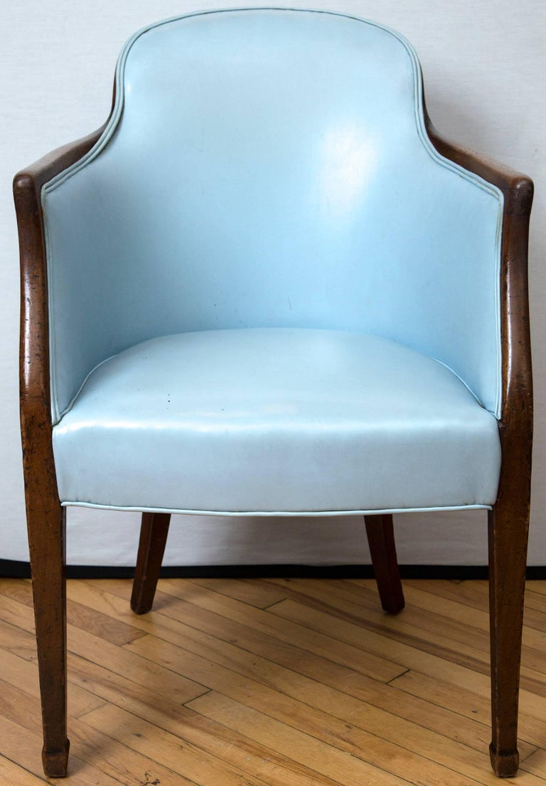 A late 18th century English mahogany tub chair upholstered in blue leather. Receipt of purchase from Florian Papp in 1964 available.