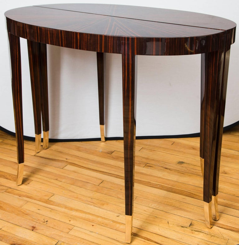 Pair of Macassar Ebony Demilune Consoles In Good Condition For Sale In Mt Kisco, NY