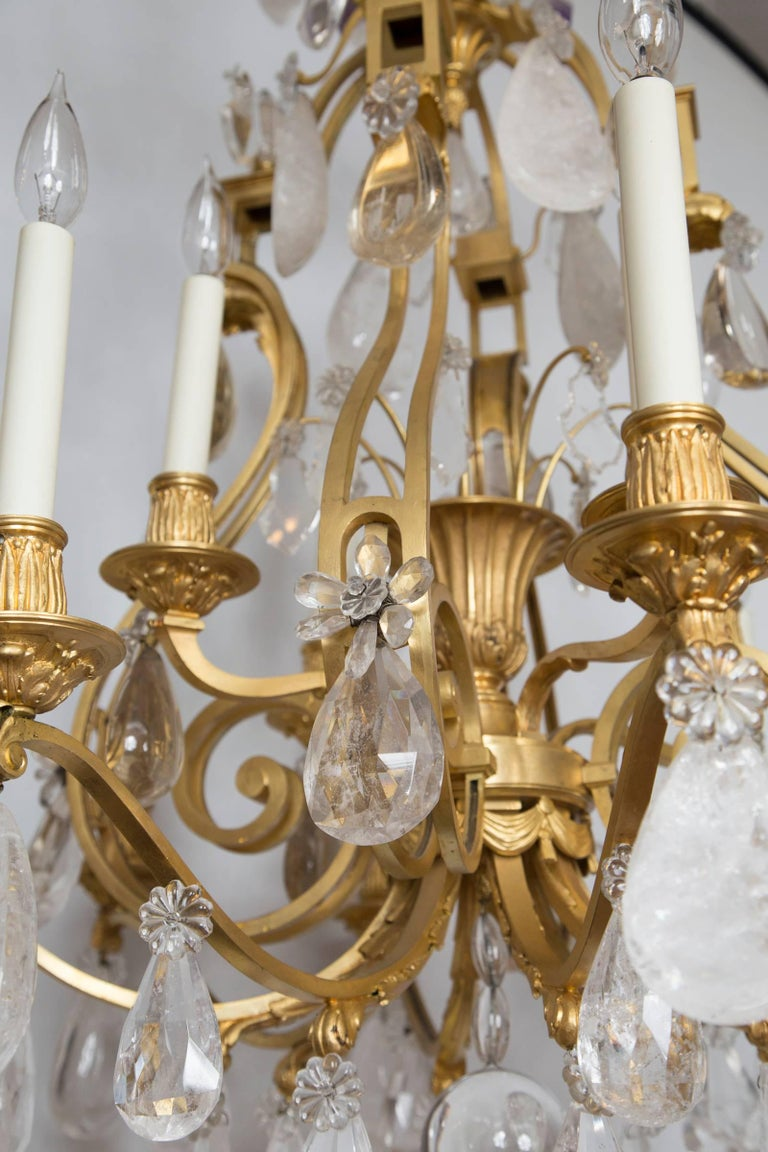 20th Century French Rock Crystal and Gilt Bronze Twelve-Light Chandelier For Sale