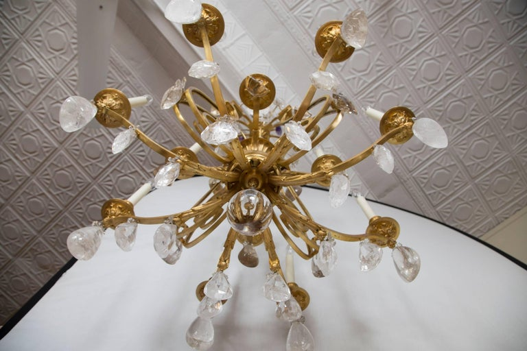 Louis XV French Rock Crystal and Gilt Bronze Twelve-Light Chandelier For Sale