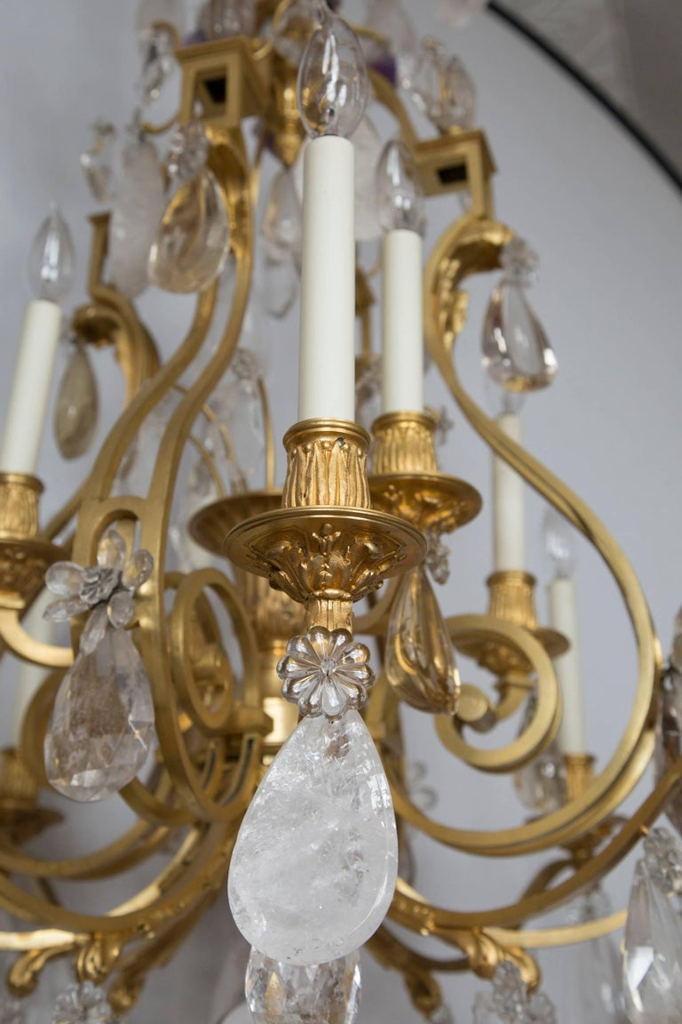 French Rock Crystal and Gilt Bronze Twelve-Light Chandelier For Sale 1