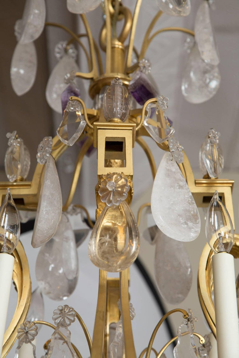 French Rock Crystal and Gilt Bronze Twelve-Light Chandelier In Good Condition For Sale In Mt Kisco, NY