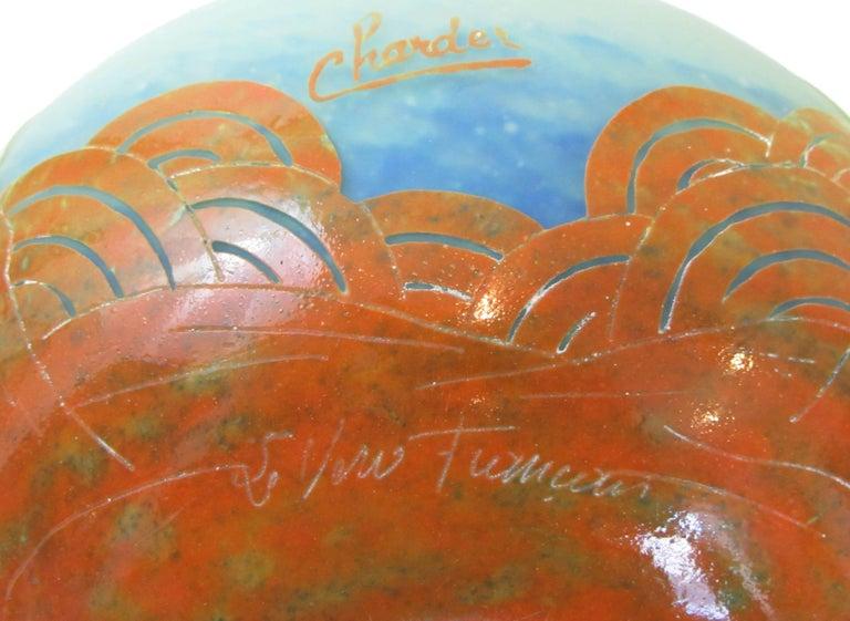 Art Glass Charles Schneider French Art Deco Palmieres Jaunes Le Verre Francais Pitcher For Sale