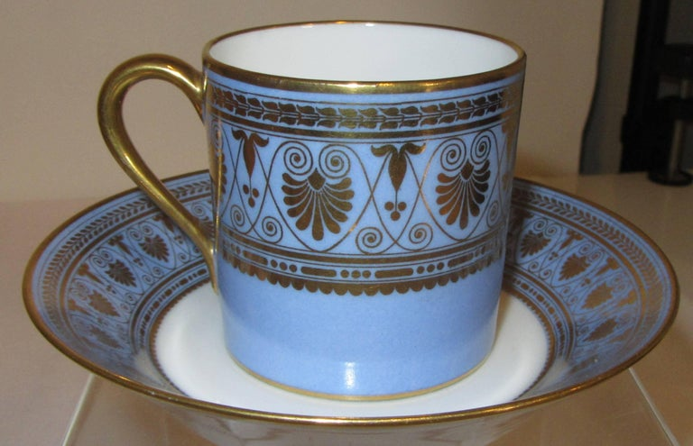 A coffee set in the pattern designed for Louis Phillipe for the castles of Saint-Cloud and Compiègne.