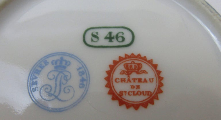 Sevres 1846 Chateau de St Cloud Demitasse Set In Good Condition For Sale In Mt Kisco, NY