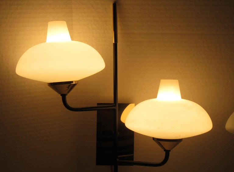 Mid-Century Modern Pair of Mid Century Italian Two-Arm Sconces by Stilnovo For Sale