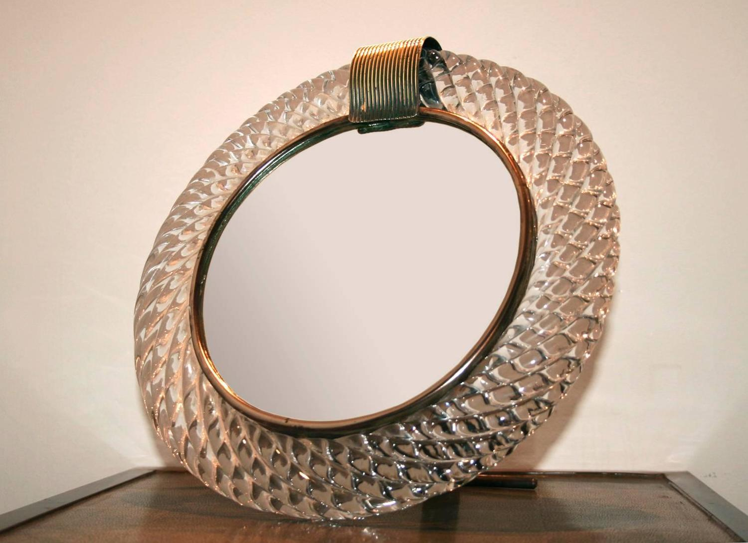 Murano Glass Circular Mirror Brass U0027Claspu0027 For Sale At 1stdibs Amazing Pictures