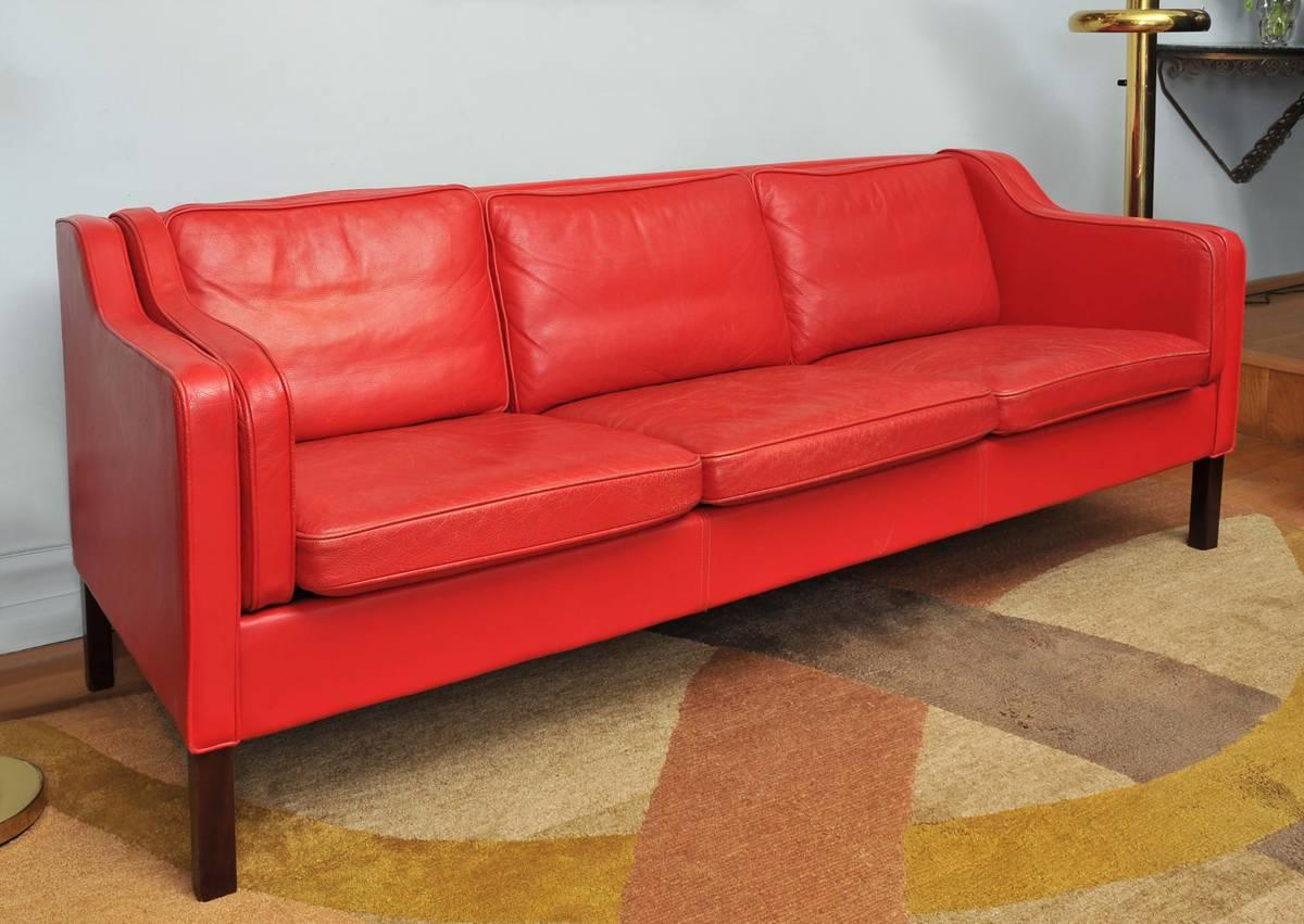 1960s Danish Red Leather Sofa by Børge Mogensen