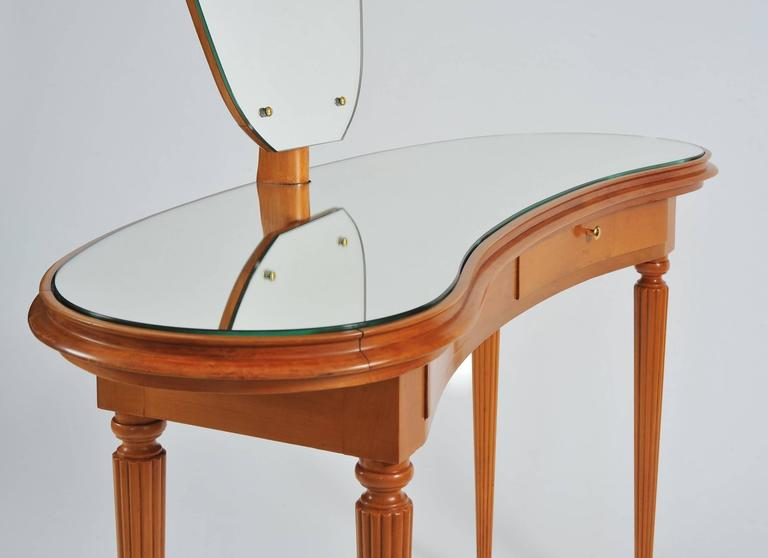 Table Dressing Wood 1950 Scarved ~ S italian vanity table with large shaped mirror for