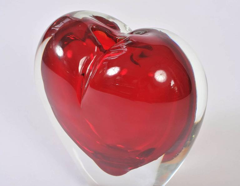 Large Red Murano Heart Vase For Sale At 1stdibs