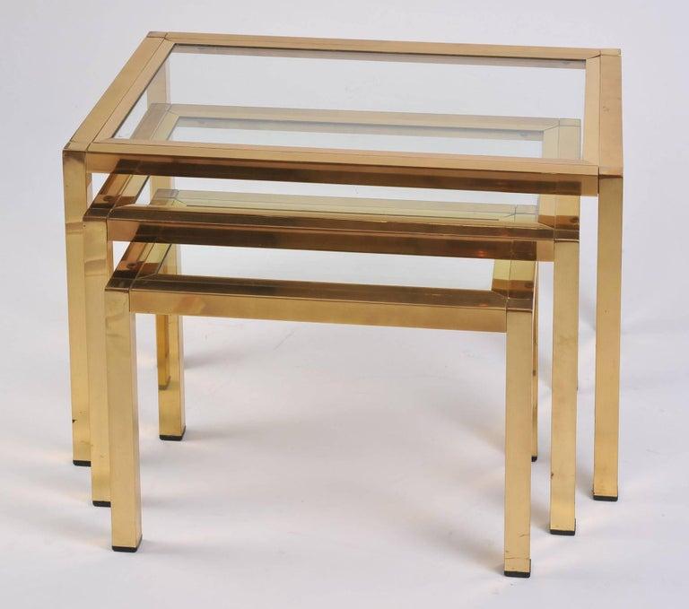 Mid-Century Modern 1950s Italian Brass Nest of Tables For Sale