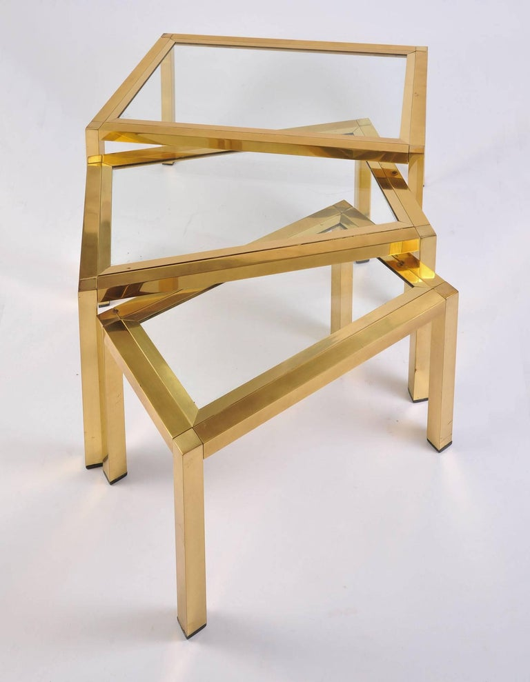 1950s Italian Brass Nest of Tables In Excellent Condition For Sale In London, GB